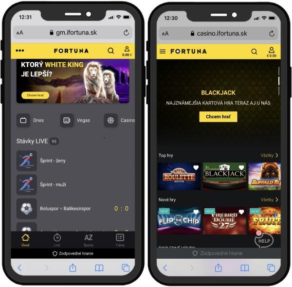 Hrajte Fortuna Casino na iFortuna.sk v mobile aj tablete