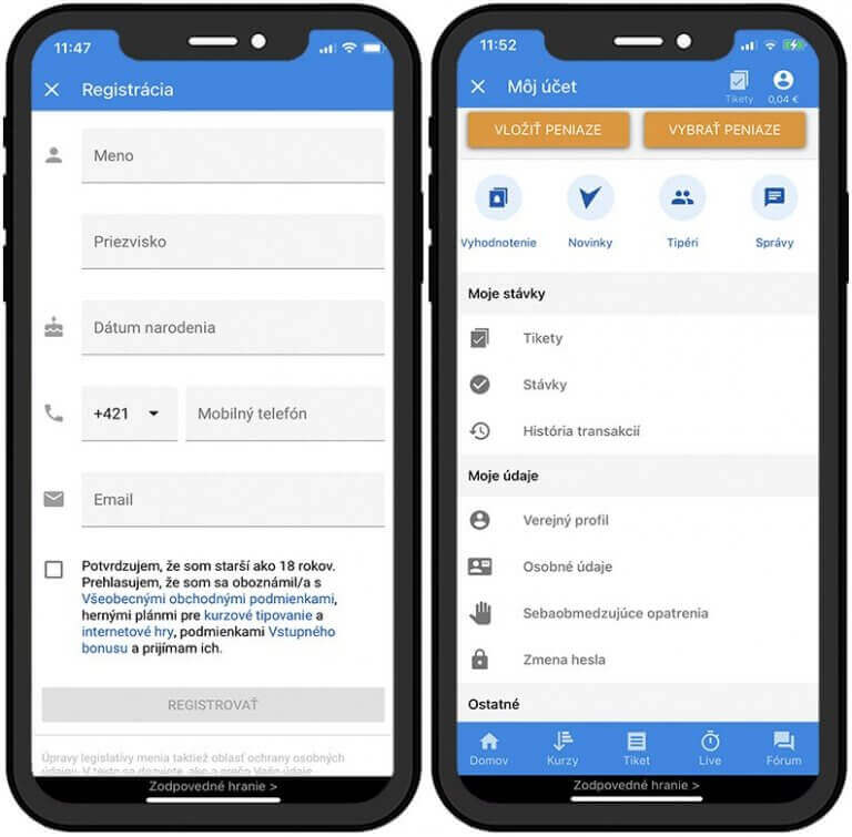 Tipsport Kasíno - online registrácia cez mobil